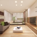 「石庭」のあるマンション リフォーム|大人の時間を楽しむ和モダンな家の写真 リビング~石庭~キッチン