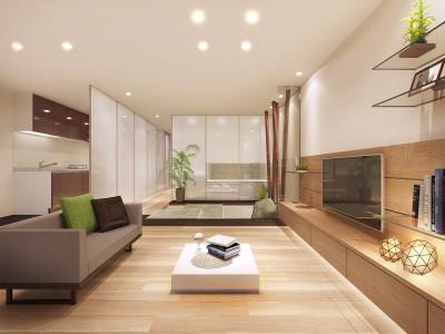 リビング~石庭~キッチン (「石庭」のあるマンション リフォーム|大人の時間を楽しむ和モダンな家)