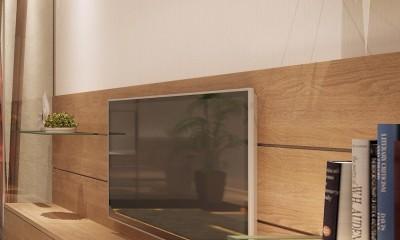 「石庭」のあるマンション リフォーム|大人の時間を楽しむ和モダンな家 (リビング)