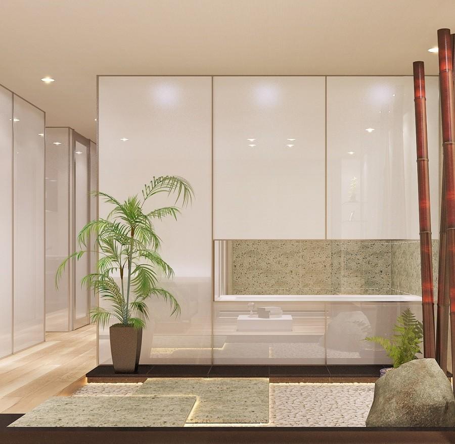 「石庭」のあるマンション リフォーム|大人の時間を楽しむ和モダンな家 (石庭)