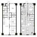 「石庭」のあるマンション リフォーム|大人の時間を楽しむ和モダンな家の写真 Before ⇒ Afterの図面