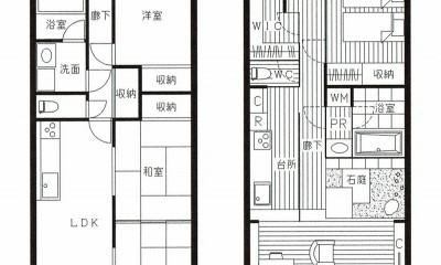 「石庭」のあるマンション リフォーム|大人の時間を楽しむ和モダンな家 (Before ⇒ Afterの図面)
