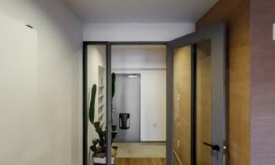 ファッションを楽しむご夫婦のための家 (リビングから玄関を眺める)