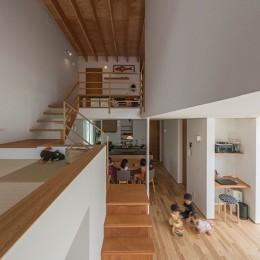 カドニワの家 ー内と外が緩やかにつながった「空間グラデーション」ー (スキップフロアによる繋がり)