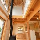 HUFUプラスワン/ローコストで建てる規格型の木の家の写真 薪ストーブのあるリビング