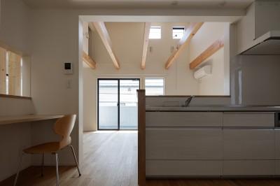 対面キッチンより (小規模デザイナーズアパートメント|三茶の集住)