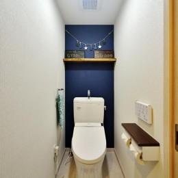 茅ヶ崎+インダストリアル (背面壁が落ち着きあるディープブルーのトイレ)