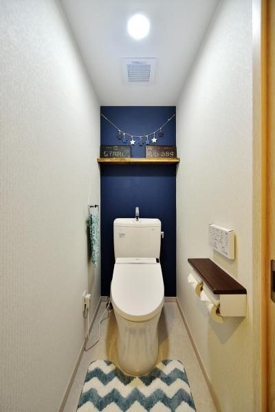 背面壁が落ち着きあるディープブルーのトイレ (茅ヶ崎+インダストリアル)