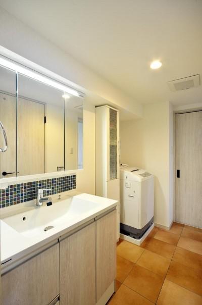 洗面室 (室内環境を整え、快適で広々としたリビングに)