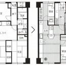 「カントリー調」のマンションリフォームの写真 Before ⇒ After 図面