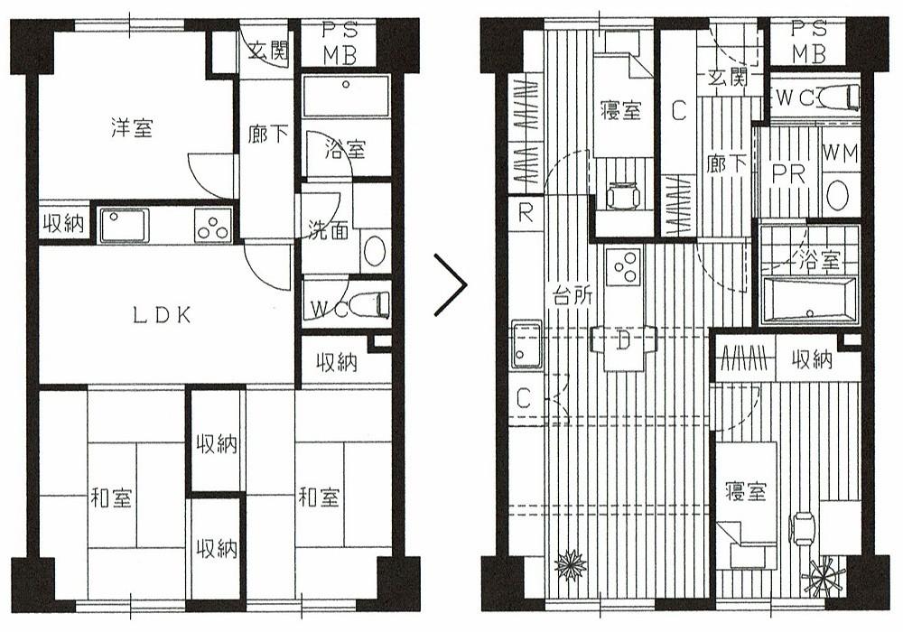 「カントリー調」のマンションリフォーム (Before ⇒ After 図面)