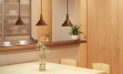 木に包まれたマンションリフォーム (キッチン~ダイニング)