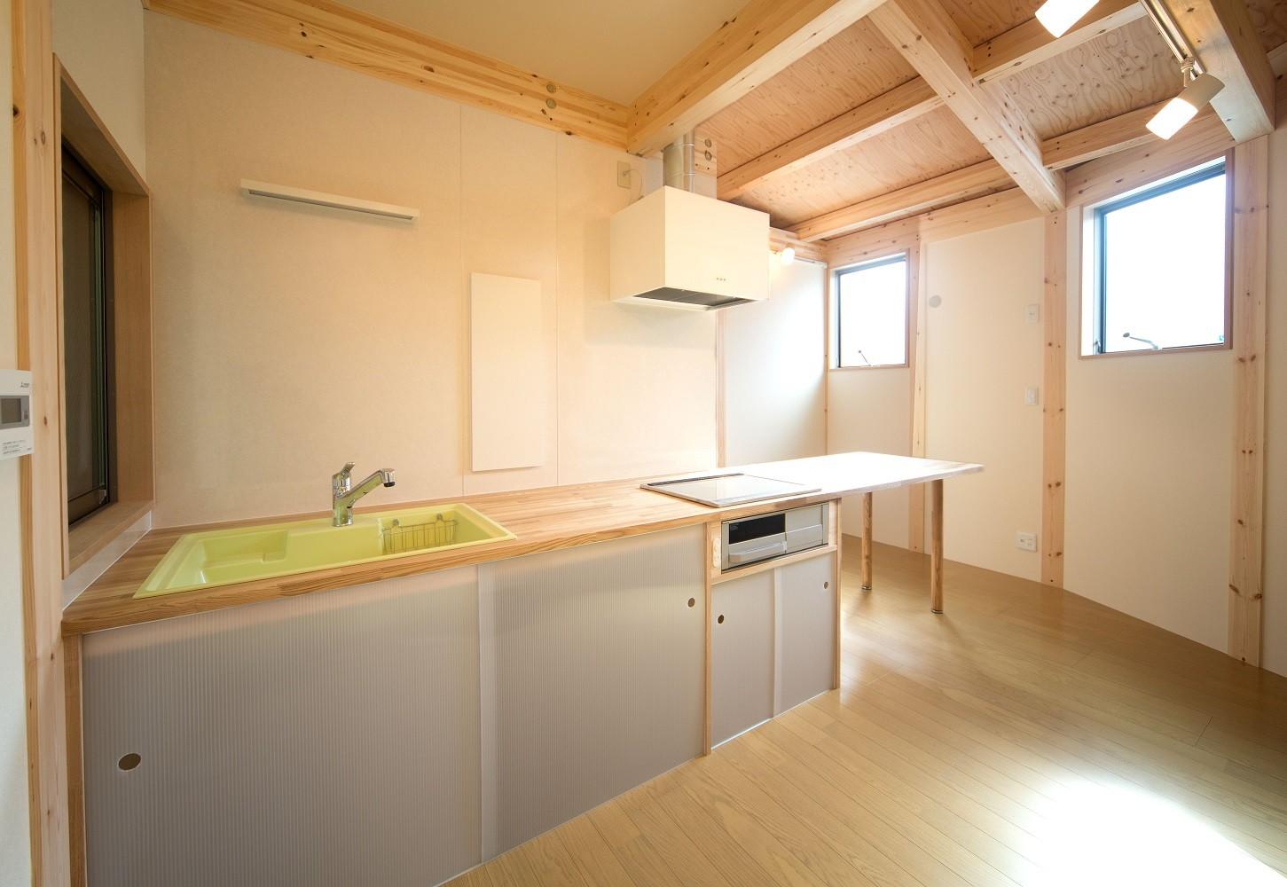 リビングダイニング事例:ダイニングキッチン(木造平屋建てバリアフリー住宅)