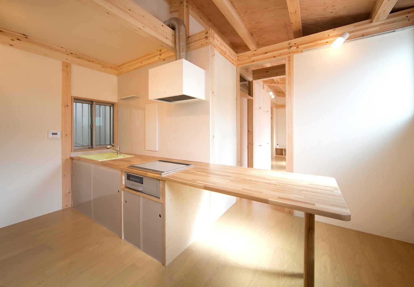 キッチン事例:ダイニングキッチン(木造平屋建てバリアフリー住宅)