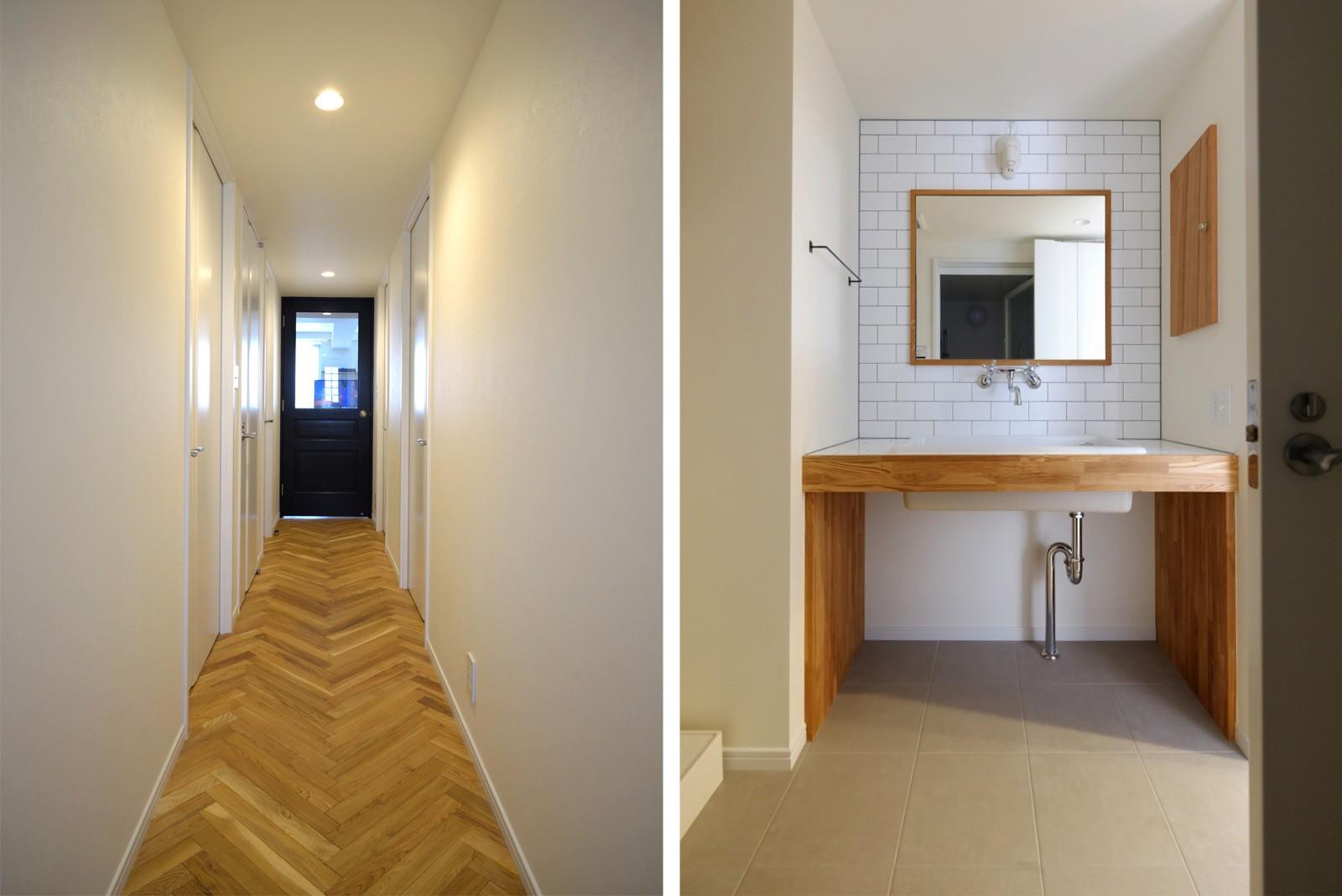 その他事例:廊下・洗面室(『solid.』 ― 素材の表情を活かす)