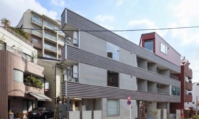 三角形の土地に建つ共同住宅 (外観)