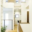 住宅密集地で光を招く工夫が満載!開放感あふれる吹き抜けリビングの写真 【2階After】