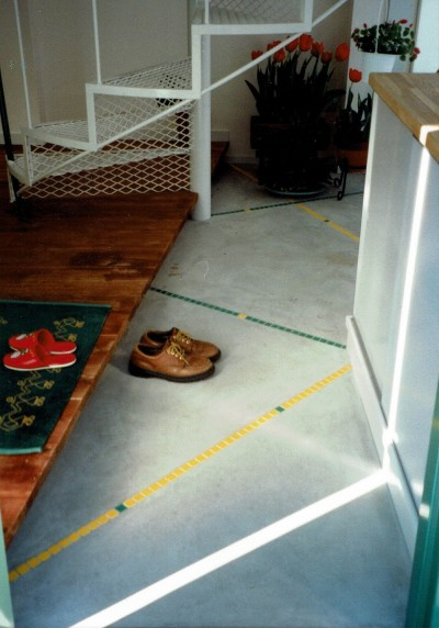 玄関ホール (広く魅せる工夫を凝らす狭小住宅:鉄骨構造の小さい住宅)