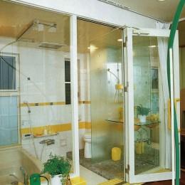 広く魅せる工夫を凝らす狭小住宅:鉄骨構造の小さい住宅 (サニタリー空間)