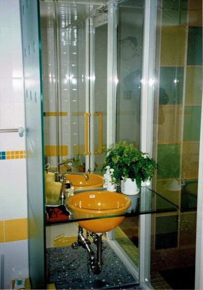 洗面・手洗い (広く魅せる工夫を凝らす狭小住宅:鉄骨構造の小さい住宅)