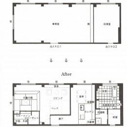 事務所ビルのリノベーション (図面: Before ⇒ ⇒ ⇒ After)