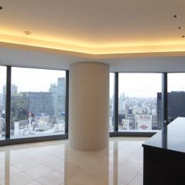 高層階の眺望を楽しむ扇型リビングの家