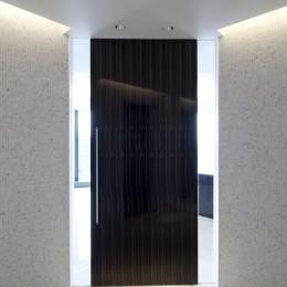 高層階の眺望を楽しむ扇型リビングの家 (玄関ホール)
