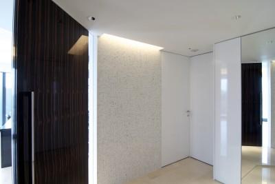 玄関ホール (高層階の眺望を楽しむ扇型リビングの家)
