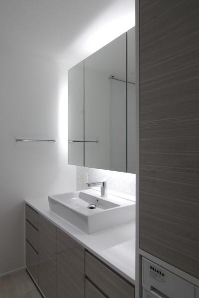 高層階の眺望を楽しむ扇型リビングの家 (洗面室)