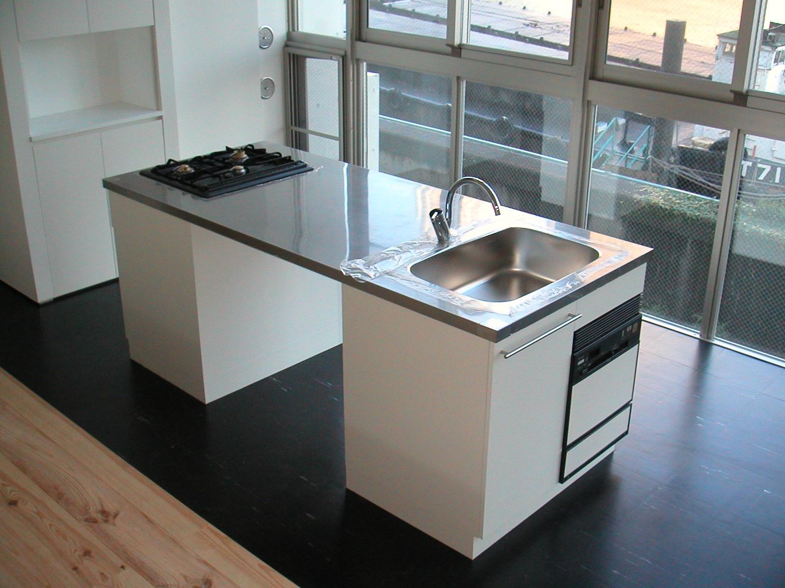 キッチン事例:アイランドキッチン(川の側の家〜おおきな開口と段差のある空間〜)
