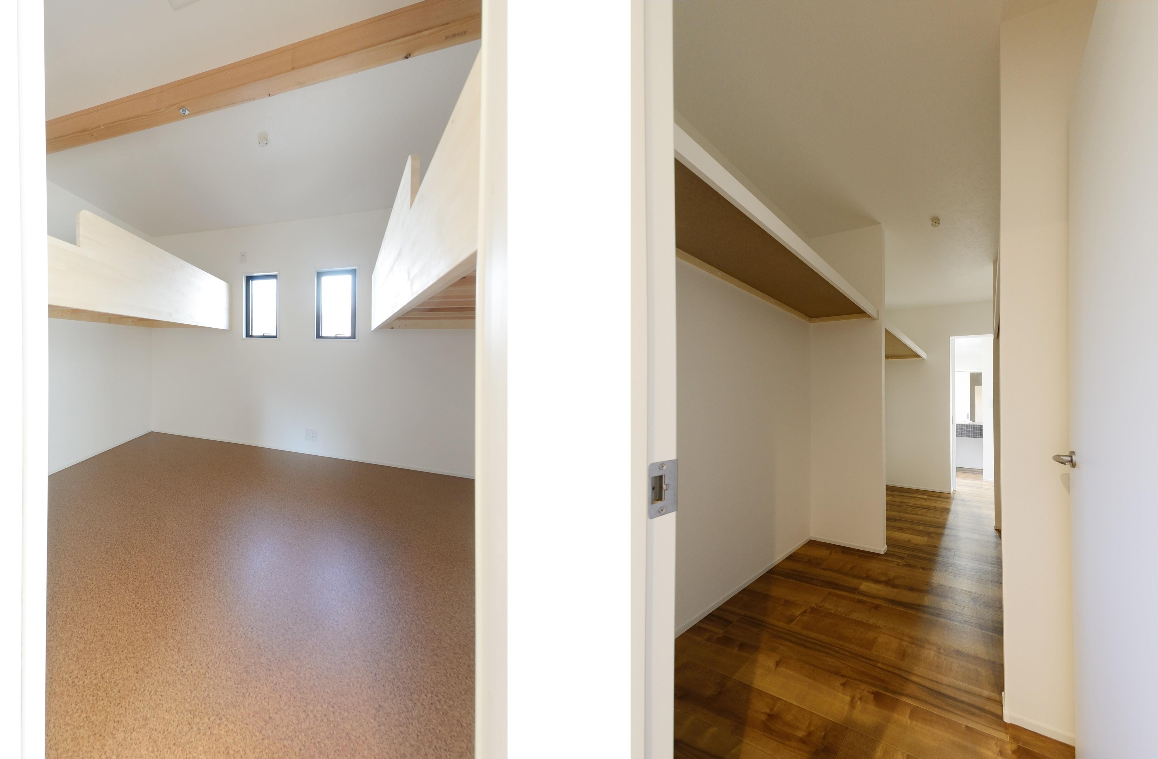 子供部屋事例:子ども部屋/ウォークインクローゼット(森のような風情を楽しみながら過ごす築40年以上の戸建てリファイニング)