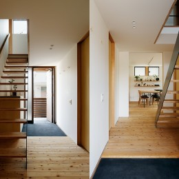 駒沢公園の家〜倉庫のような外観・柔らかい室内〜 (玄関とホール)