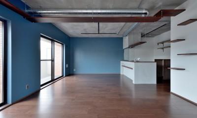 モルタル仕上げのキッチン×キャットステップのあるワンストップリノベーション住まい (LDK)