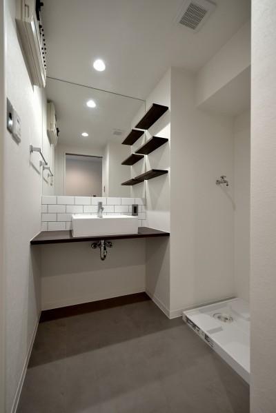 洗面ルーム (モルタル仕上げのキッチン×キャットステップのあるワンストップリノベーション住まい)