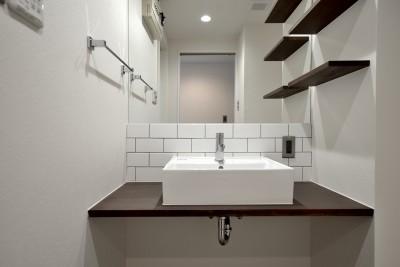 洗面台 (モルタル仕上げのキッチン×キャットステップのあるワンストップリノベーション住まい)