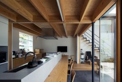 長いカウンターテーブル一体のダイニングキッチン (茅ヶ崎の家〜旗竿敷地に建つ三つの庭を持つ家)