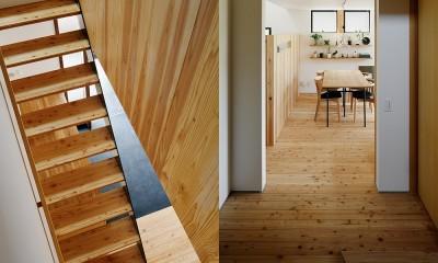 階段と階段ホール|駒沢公園の家〜倉庫のような外観・柔らかい室内〜