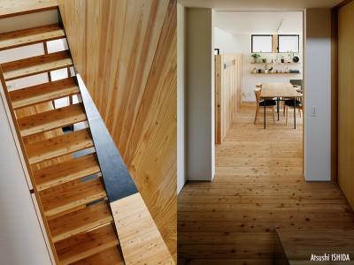 駒沢公園の家〜倉庫のような外観・柔らかい室内〜 (階段と階段ホール)