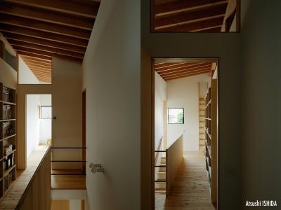 2階の階段ホール (駒沢公園の家〜倉庫のような外観・柔らかい室内〜)