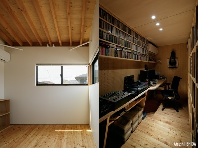 個室と書斎 (駒沢公園の家〜倉庫のような外観・柔らかい室内〜)