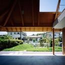 ナガレノイエ ―大きな屋根とテーブルの家の写真 軒下空間と繋がる庭