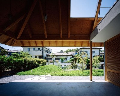 軒下空間と繋がる庭 (ナガレノイエ ―大きな屋根とテーブルの家)