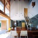 ナガレノイエ ―大きな屋根とテーブルの家の写真 土間(リビングダイニングキッチン)