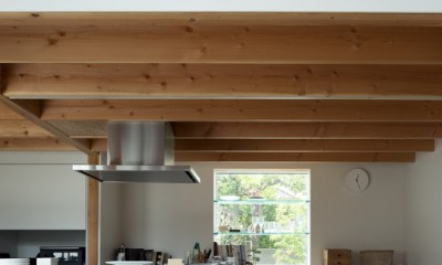 出窓棚とキッチン一帯の大きなカウンターのあるダイニング|茅ヶ崎の家〜旗竿敷地に建つ三つの庭を持つ家
