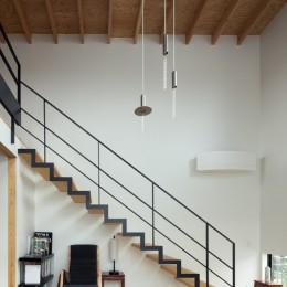 茅ヶ崎の家〜旗竿敷地に建つ三つの庭を持つ家 (吹抜リビングにかかる繊細なスケルトン階段)