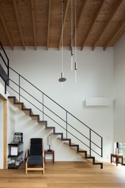 吹抜リビングにかかる繊細なスケルトン階段 (茅ヶ崎の家〜旗竿敷地に建つ三つの庭を持つ家)