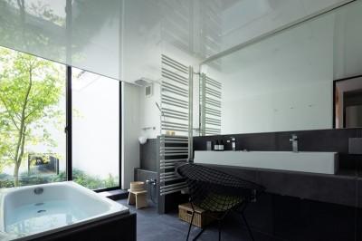 中庭に面したホテルライクな浴室 (茅ヶ崎の家〜旗竿敷地に建つ三つの庭を持つ家)
