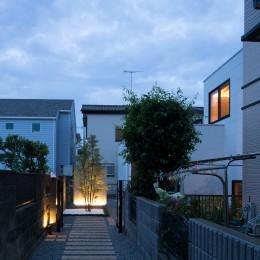 茅ヶ崎の家〜旗竿敷地に建つ三つの庭を持つ家 (メインツリーを正面に臨む旗竿通路夕景)