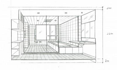 眺望を楽しむ暮らし:ビルのリノベーション (スケッチ:バスルーム)
