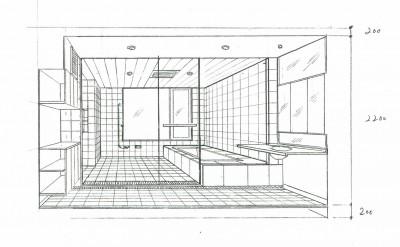 スケッチ:バスルーム (眺望を楽しむ暮らし:ビルのリノベーション)